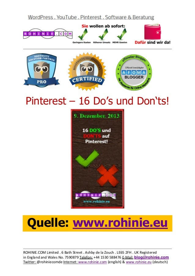 Pinterest – 16 Do's und Don'ts!  Quelle: www.rohinie.eu ROHINIE.COM Limited . 6 Bath Street . Ashby de la Zouch . LE65 2FH...
