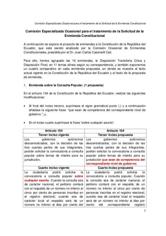 Comisión Especializada Ocasional para el tratamiento de la Solicitud de la Enmienda Constitucional 1 Comisión Especializad...