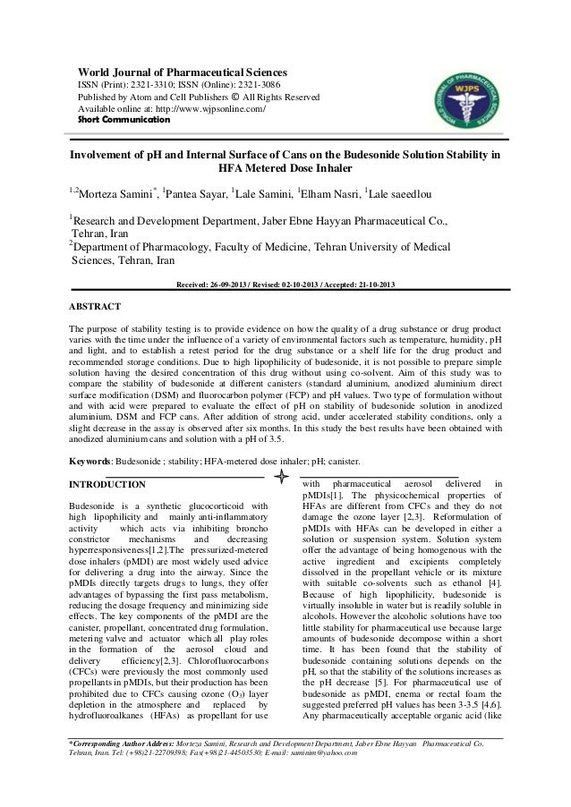 World Journal of Pharmaceutical Sciences ISSN (Print): 2321-3310; ISSN (Online): 2321-3086 Published by Atom and Cell Publ...