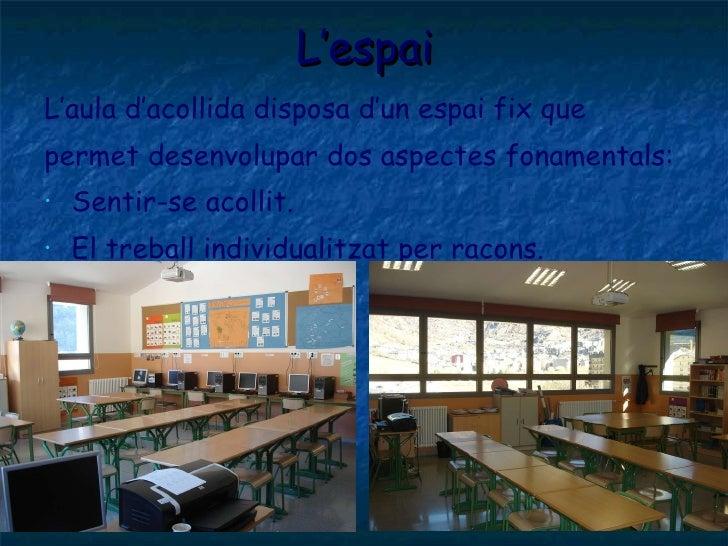 L'espai <ul><li>L'aula d'acollida disposa d'un espai fix que </li></ul><ul><li>permet desenvolupar dos aspectes fonamental...