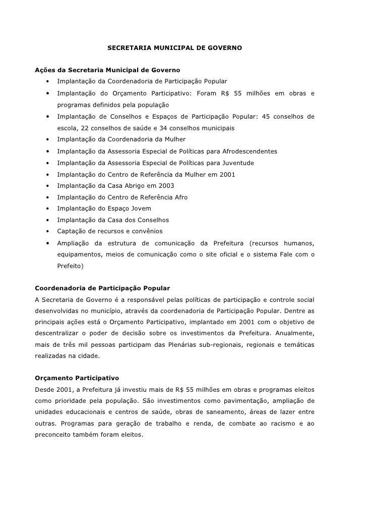 SECRETARIA MUNICIPAL DE GOVERNOAções da Secretaria Municipal de Governo   •   Implantação da Coordenadoria de Participação...
