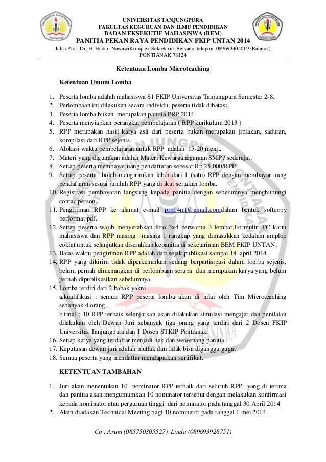 Surat Undangan Ketentuan Serta Formulir Pendaftaran Lomba