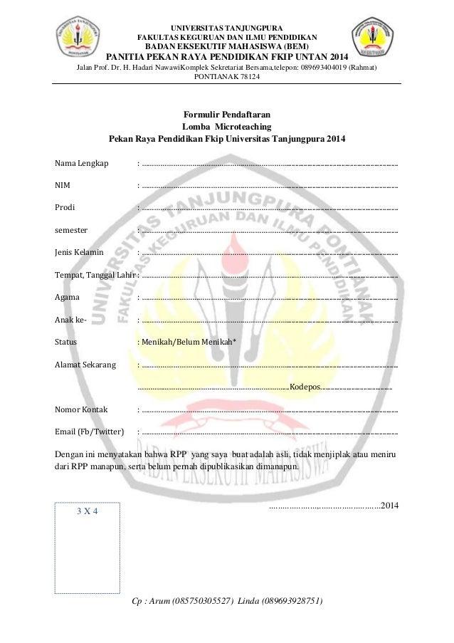 Contoh Formulir Pendaftaran Lomba Mewarnai Contoh Ii
