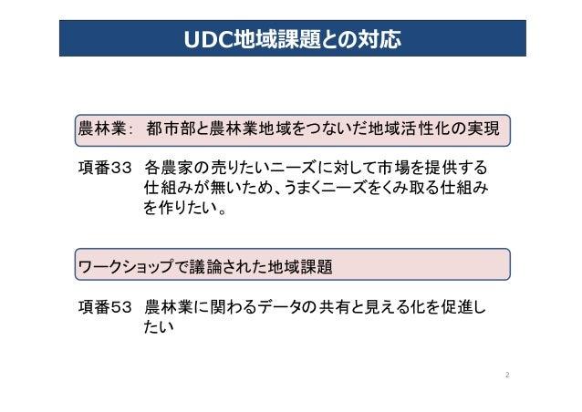 2 UDC地域課題との対応 農林業: 都市部と農林業地域をつないだ地域活性化の実現 項番33 各農家の売りたいニーズに対して市場を提供する 仕組みが無いため、うまくニーズをくみ取る仕組み を作りたい。 ワークショップで議論された地域課題 項番5...
