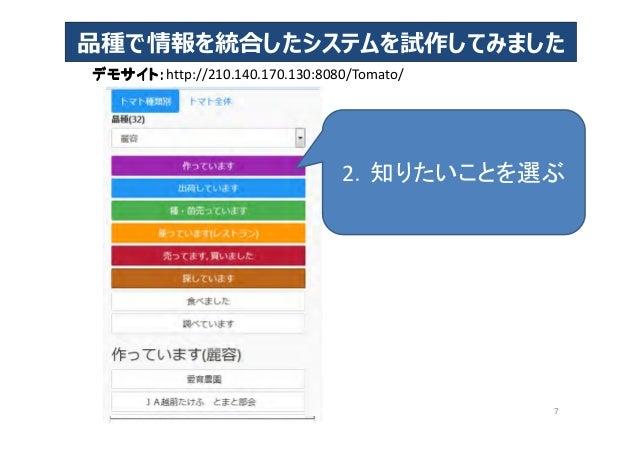 デモサイト:デモサイト:デモサイト:デモサイト:http://210.140.170.130:8080/Tomato/ 品種で情報を統合したシステムを試作してみました 7 2.知りたいことを選ぶ
