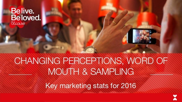 Key marketing stats for 2016 CHANGING PERCEPTIONS, WORD OF MOUTH & SAMPLING