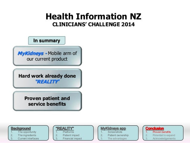 In summary  Background  1. The opportunity  2. The ingredients  3. Current interfaces  Health Information NZ  CLINICIANS' ...