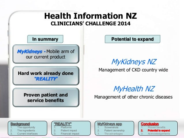 Background  1. The opportunity  2. The ingredients  3. Current interfaces  Health Information NZ  CLINICIANS' CHALLENGE 20...