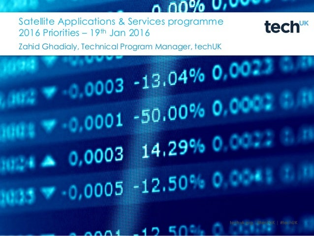 techuk.org |@techUK | #techUK Satellite Applications & Services programme 2016 Priorities – 19th Jan 2016 Zahid Ghadialy, ...