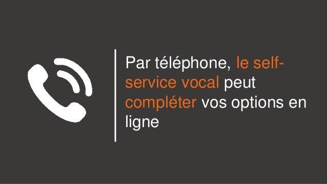 Par téléphone, le self- service vocal peut compléter vos options en ligne