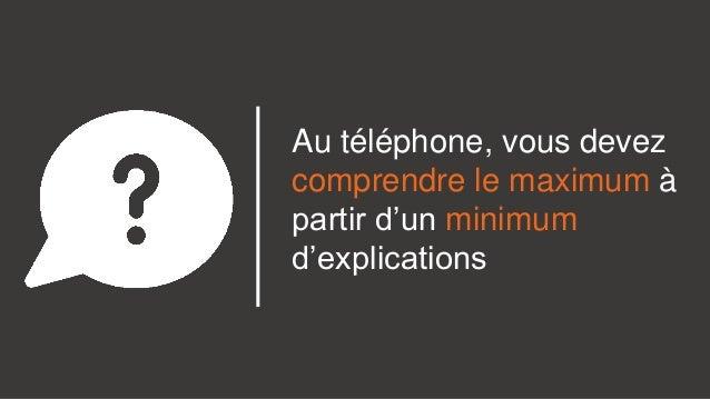 Au téléphone, vous devez comprendre le maximum à partir d'un minimum d'explications