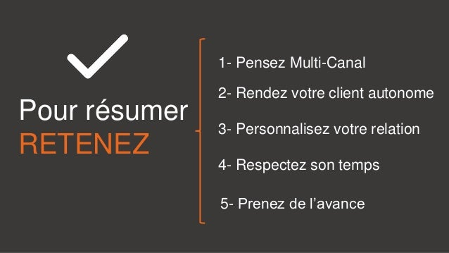 Pour résumer RETENEZ 1- Pensez Multi-Canal 2- Rendez votre client autonome 3- Personnalisez votre relation 5- Prenez de l'...