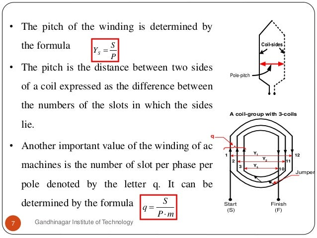 • The pitch of the winding is determined by the formula • The pitch is the distance between two sides of a coil expressed ...