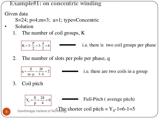 Example#1: on concentric winding Gandhinagar Institute of Technology8 Given data S=24; p=4;m=3; a=1; type=Concentric • Sol...