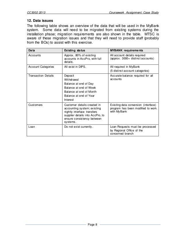 cc coursework my bank islington case study 10 cc3002 2013 coursework