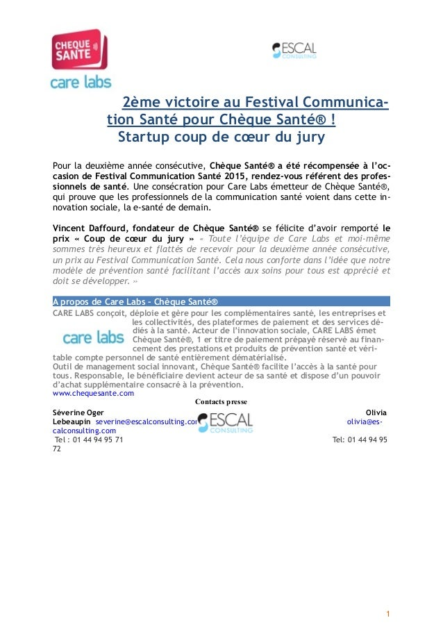 2ème victoire au Festival Communica- tion Santé pour Chèque Santé®! Startup coup de cœur du jury Pour la deuxième année c...