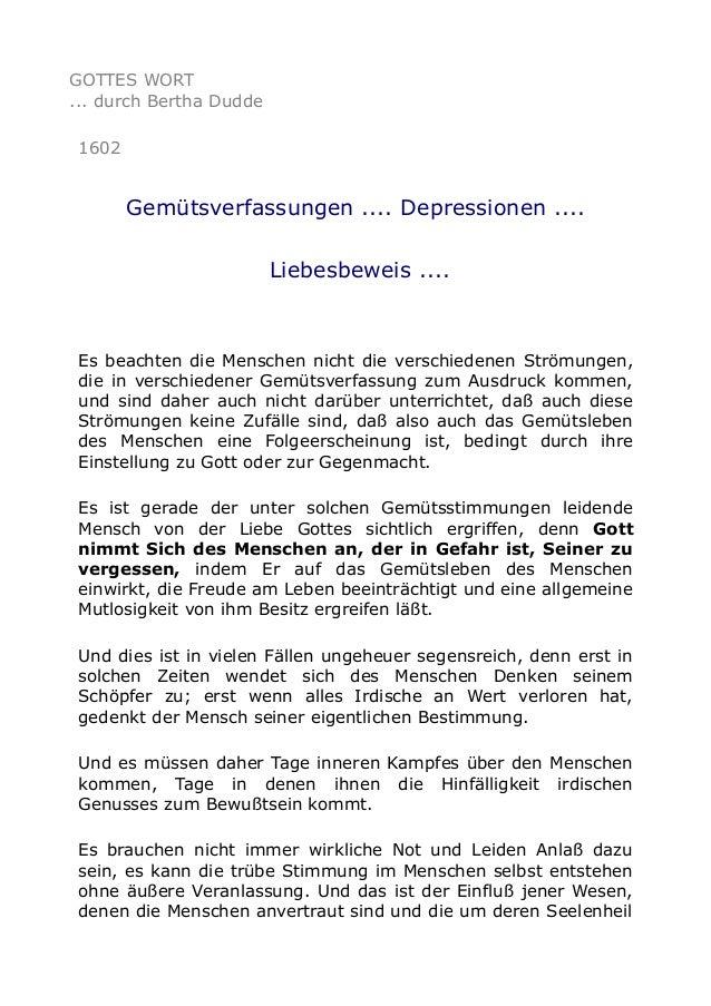 GOTTES WORT ... durch Bertha Dudde 1602  Gemütsverfassungen .... Depressionen .... Liebesbeweis ....  Es beachten die Mens...