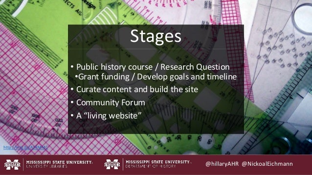 @hillaryAHR @NickoalEichmann • Public history course / Research Question •Grant funding / Develop goals and timeline • Cur...