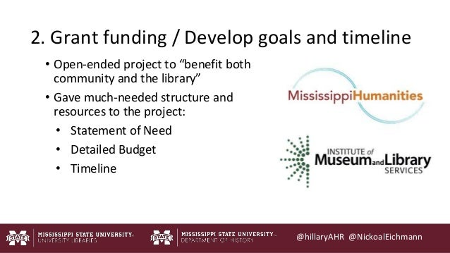 """@hillaryAHR @NickoalEichmann http://mrg.bz/rkKcNl 2. Grant funding / Develop goals and timeline • Open-ended project to """"b..."""