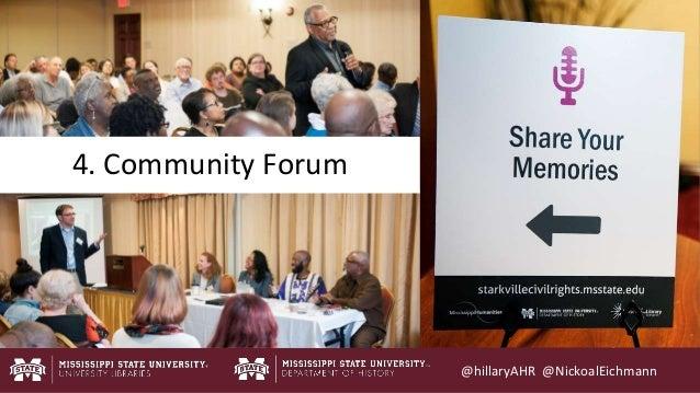 @hillaryAHR @NickoalEichmann 4. Community Forum