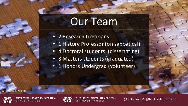 @hillaryAHR @NickoalEichmann Our Team • 2 Research Librarians • 1 History Professor (on sabbatical) • 4 Doctoral students ...