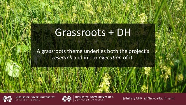 @hillaryAHR @NickoalEichmann A grassroots theme underlies both the project's research and in our execution of it. Grassroo...