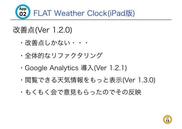 "'35 FLAT Weather C| ock(iPadli}§<)  B5Z§#. i(Ver 1.2.0)  °E5Z%. 'f%L;7b7E: i;- - -  -$17-1-<l? YJ7fa: 'J 7777 'J '/7""  - G..."