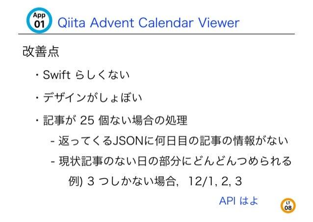 """[iii Qiita Advent Calendar Viewer  E5Z%, ¢§  - Swift '5 L;  < 7Z1tL  - 7-""""*3°""""1""""/7'J""""b . l:l§'L  ' §E$7b"""" 25 17;:  i, i%§'..."""