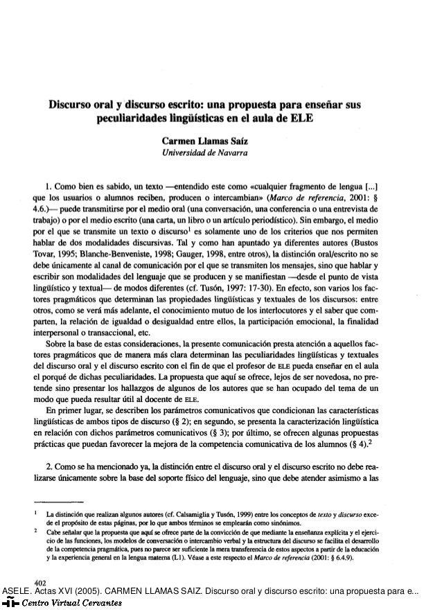 Discurso oral y discurso escrito: una propuesta para enseñar sus peculiaridades lingüísticas en el aula de ELE Carmen Llam...