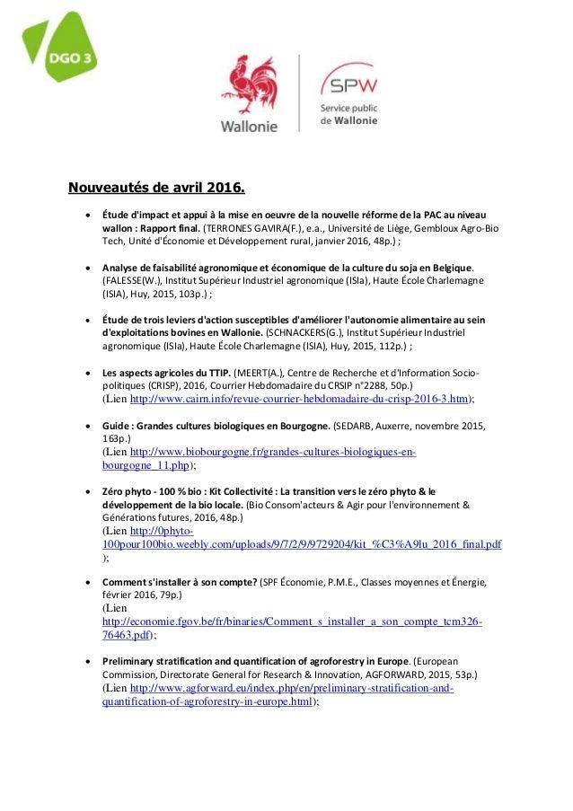 Nouveautés de avril 2016.  Étude d'impact et appui à la mise en oeuvre de la nouvelle réforme de la PAC au niveau wallon ...