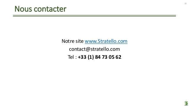Nous contacter Notre site www.Stratello.com contact@stratello.com Tel : +33 (1) 84 73 05 62 22