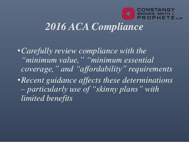 2016 aca update for Minimum essential coverage plan design