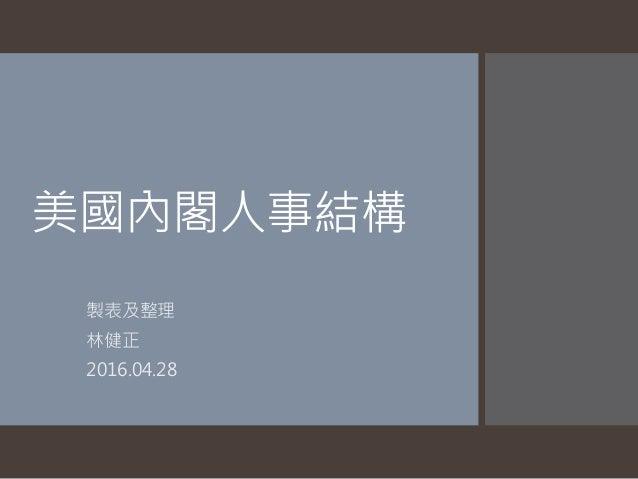 美國內閣人事結構 製表及整理 林健正 2016.04.28