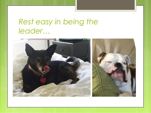 Rest easy in being the leader…