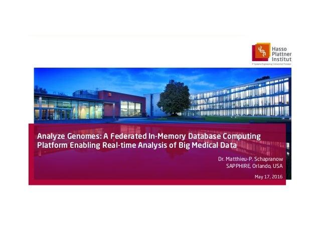 Analyze Genomes: A Federated In-Memory Database Computing Platform Enabling Real-time Analysis of Big Medical Data Dr. Mat...