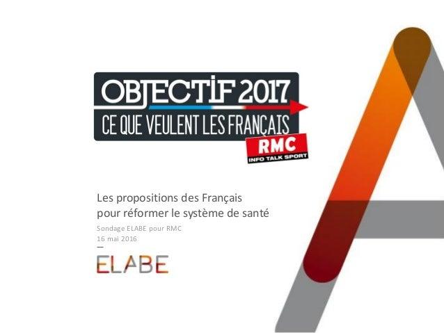 #Objectif2017 Les propositions des Français pour réformer le système de santé Sondage ELABE pour RMC 16 mai 2016