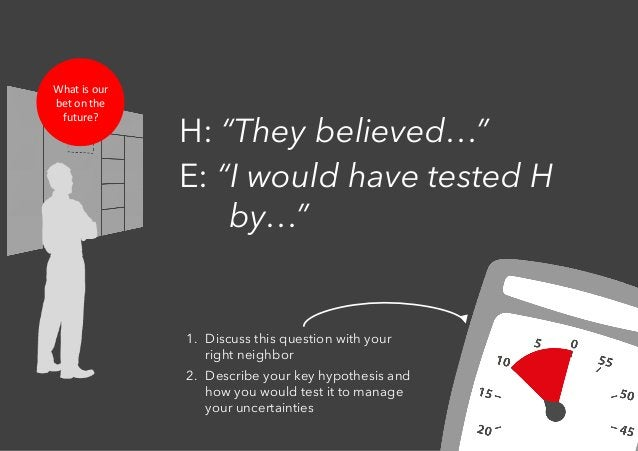 """H: """"They believed…"""" E: """"I would have tested H by…"""" 1. Discuss this question with your right neighbor 2. Describe your ke..."""