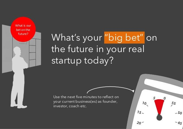 """Whatisour betonthe future? What's your """"big bet"""" on the future in your real startup today? Use the next five minute..."""