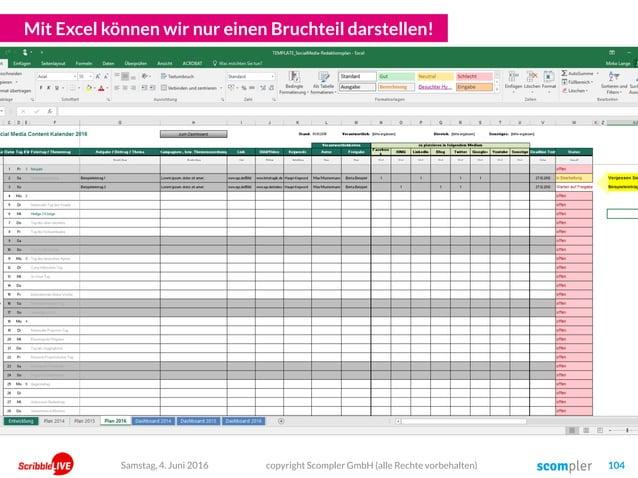 Mit Excel können wir nur einen Bruchteil darstellen! copyright Scompler GmbH (alle Rechte vorbehalten) 104Samstag, 4. Juni...