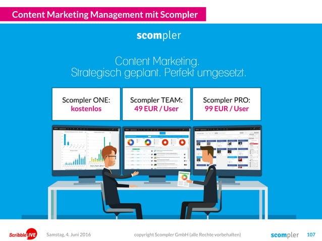 Content Marketing Management mit Scompler copyright Scompler GmbH (alle Rechte vorbehalten) 107Samstag, 4. Juni 2016 Scomp...