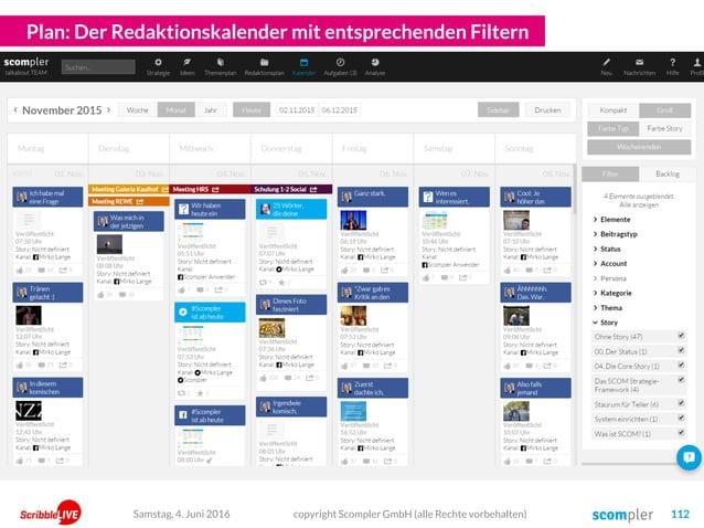 Plan: Der Redaktionskalender mit entsprechenden Filtern copyright Scompler GmbH (alle Rechte vorbehalten) 112Samstag, 4. J...