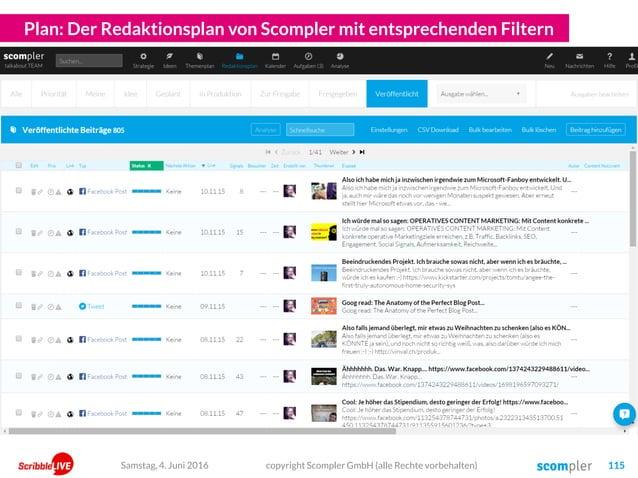 Plan: Der Redaktionsplan von Scompler mit entsprechenden Filtern copyright Scompler GmbH (alle Rechte vorbehalten) 115Sams...
