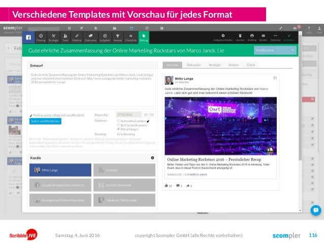 Verschiedene Templates mit Vorschau für jedes Format copyright Scompler GmbH (alle Rechte vorbehalten) 116Samstag, 4. Juni...