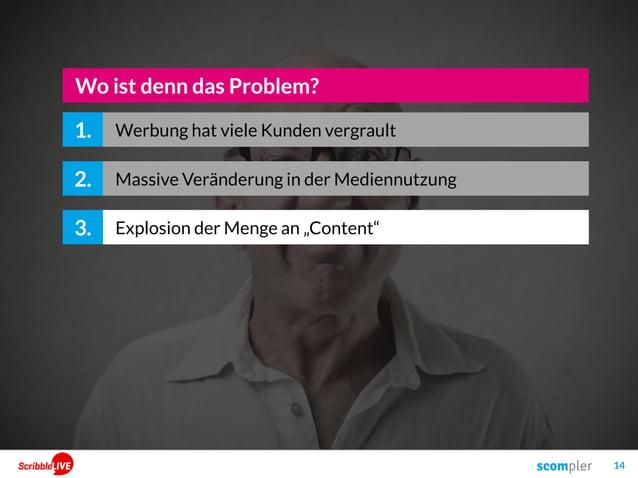 """14 2. Explosion der Menge an """"Content""""3. Wo ist denn das Problem? 1. Massive Veränderung in der Mediennutzung Werbung hat ..."""
