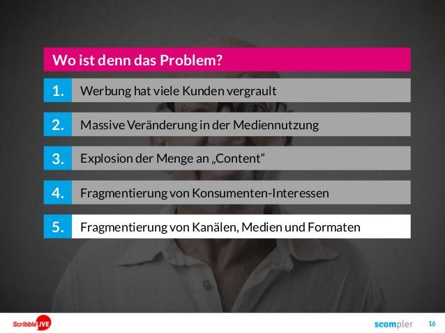 16 2. 3. Wo ist denn das Problem? 4. Fragmentierung von Kanälen, Medien und Formaten5. 1. Massive Veränderung in der Medie...