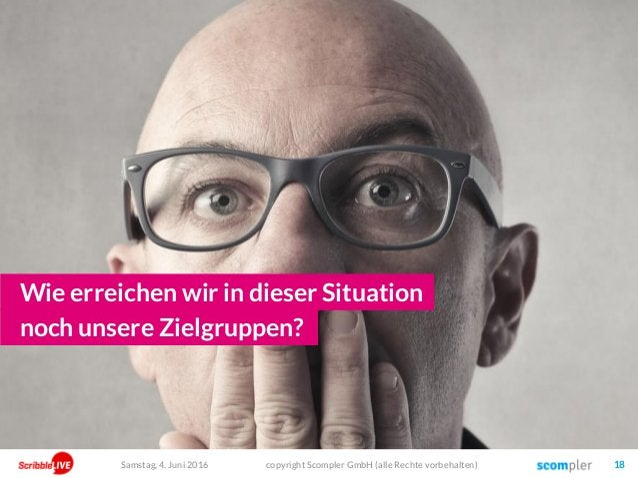copyright Scompler GmbH (alle Rechte vorbehalten) 18 Wie erreichen wir in dieser Situation noch unsere Zielgruppen? Samsta...