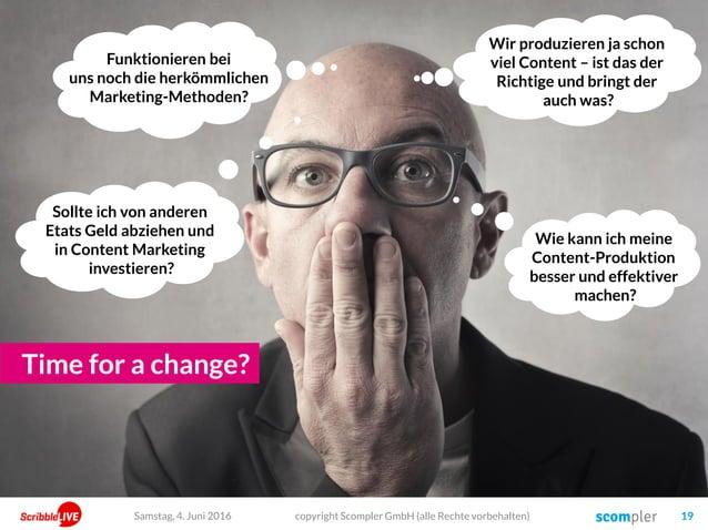 copyright Scompler GmbH (alle Rechte vorbehalten) 19Samstag, 4. Juni 2016 Wir produzieren ja schon viel Content – ist das ...