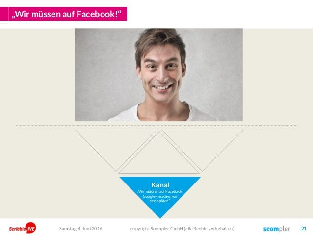 """""""Wir müssen auf Facebook!"""" Kanal """"Wir müssen auf Facebook! Google+ machen wir erst später!"""" copyright Scompler GmbH (alle ..."""