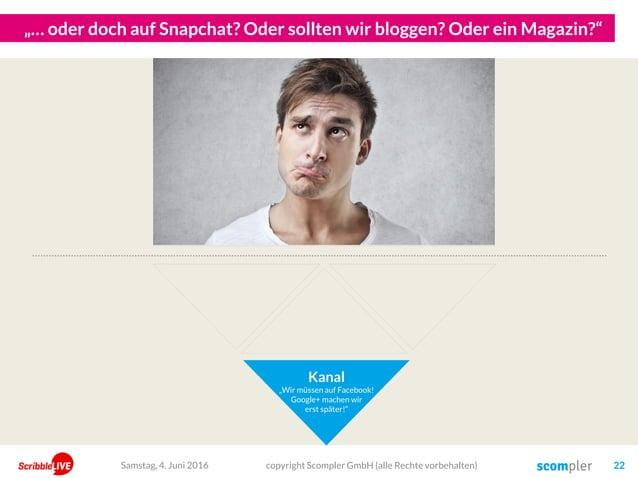 """""""… oder doch auf Snapchat? Oder sollten wir bloggen? Oder ein Magazin?"""" Kanal """"Wir müssen auf Facebook! Google+ machen wir..."""