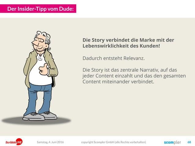 Der Insider-Tipp vom Dude: Die Story verbindet die Marke mit der Lebenswirklichkeit des Kunden! Dadurch entsteht Relevanz....